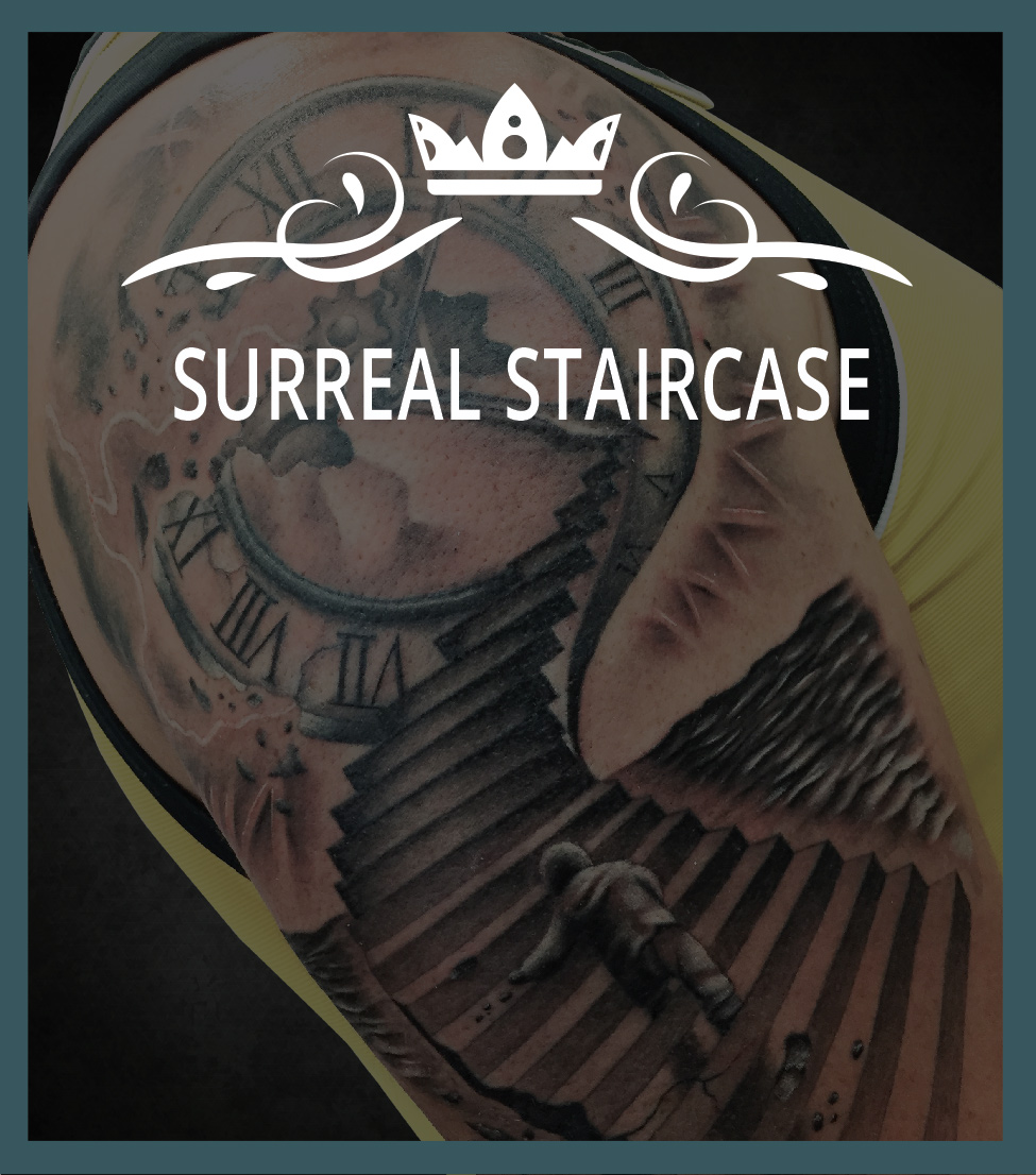 Nice Sorry Mom Tattoo: Surreal Staircase Tattoo